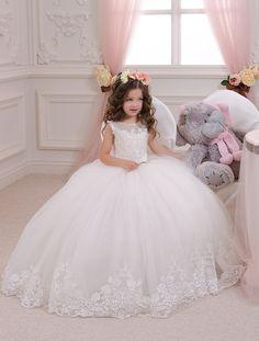 Ivory de encaje vestido de niña de las flores - vacaciones de fiesta de Dama de…