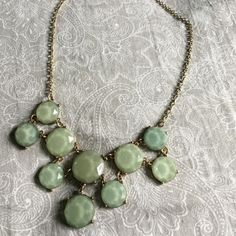 Pale sparkly blue-green statement necklace Beautiful statement necklace! All prices move and are connected. Adjustable closure. Gold setting.    ↠ No trades  ↠ 15% bundle discount  ↠ Lowball offers are declined  ↠ I ship same or next day  ☞ Follow my Instagram- Seahighmarket Francesca's Collections Jewelry Necklaces
