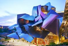 Hotel Marqués de Riscal, Elciego, Spain Architect and interior designer: Frank Gehry  Opened in 2006, Gehry's hotel is in the medieval village of Elciego, near vineyards and historic wine cellars.