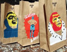 Lucha Libre -3 Pack Handprinted Paper Party Bags