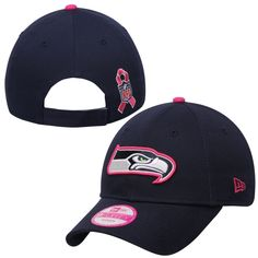 Women's Seattle Seahawks New Era College Navy 2014 Breast Cancer Awareness On Field 9FORTY Adjustable Hat