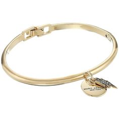 Marc Jacobs MJ Coin Lightning Hinge Cuff Bracelet (Crystal/Gold)... ($53) ❤ liked on Polyvore featuring jewelry, bracelets, charm bangles, engraved charms, crystal cuff bracelet, gold hinged bangle and gold coin jewelry