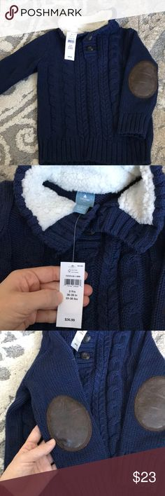 New with tags toddler gap sweater Brand new with tags toddler boys cable knit sweater with elbow patches GAP Shirts & Tops Sweaters