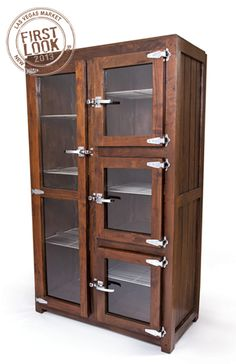 Vintage finds at #lvmkt Jan28-Feb1: Butchers cabinet from GO Home Ltd. offers solid wood construction, glass fronts & polished silver, refrigerator-styled handles that recall a past era.  #LVMKT #2013