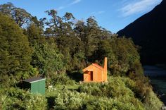 Old Forest Service Hut, West Coast, NZ. We have a great heritage of back country huts in New Zealand. Red Houses, Forest Service, New Zealand Travel, West Coast, Cabins, Country, House Styles, Home Decor, Decoration Home
