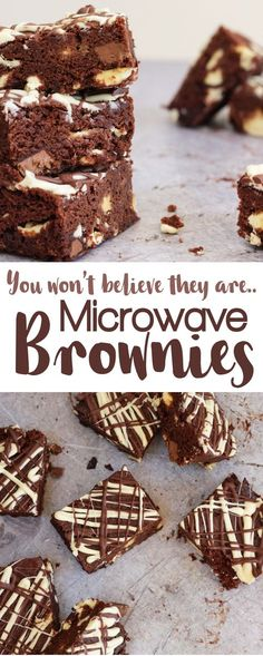 Double Chocolate Microwave Brownies - A fudgy, gooey chocolate brownies recipe. Delicious chocolate cakes made in the microwave in a flash complete with chocolate chunks and white chocolate topping. The perfect chocolate cake, these are the real deal. Microwave Cookies, Microwave Brownie, Microwave Baking, Microwave Recipes, Microwave Omelet, Gooey Chocolate Brownie Recipe, Delicious Chocolate, Brownie Recipes, Chocolate Recipes