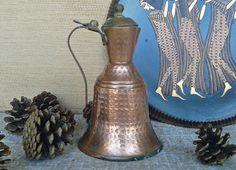 Vintage copper pitcher brass handle knob Turkish milk by Milras