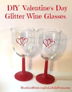 DIY Valentines Day Glitter Wine Glasses