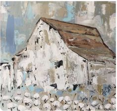 Beautiful giclee produced in the USA. Comes gallery wrapped and ready to hang, no framing required. Farmhouse Paintings, Barn Paintings, Rustic Painting, Cotton Painting, Barn Art, Up House, Wow Art, Old Barns, Painting Techniques