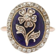 Pre-owned Enamel, Diamond Locket Back Daisy Ring ($2,850) ❤ liked on Polyvore featuring jewelry, rings, multiple, diamond locket, victorian jewellery, enamel locket, blue jewelry and diamond jewelry