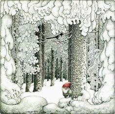 Benji Gnome will add frosty burdock seeds to the decor. - (illustration by Swedish artist Lennart Helje) Swedish Christmas, Scandinavian Christmas, Christmas Art, Art And Illustration, Theme Noel, Illustrators, Folk Art, Fantasy Art, Fairy Tales