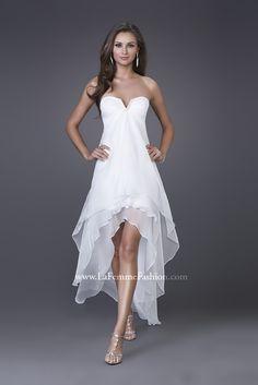 La Femme 15033 White ~ simple high-low flowy silk chiffon ~ Glitterati Prom & Pageant Superstore www.glitteratisty... call us 978-745-7775 Glitterati Prom & Pageant Superstore is located on 121 Lafayette St. Salem, MA 01970