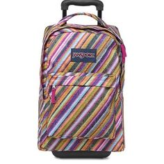 JanSport Multi Texture Stripe Superbreak Wheeled Backpack on Sale, 5% Off | Backpacks on Sale at Tradesy #shop #shopping #fashion #blogger #style #backpack #school #rainbow #jansport #travel #carryon #wheeledbackpack