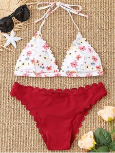 It's time to toss out the old and make wardrobe for the new. The stunning bikini set features a floral triangle bikini top with scalloped trim and flexible ties nape, removable padded but no underwire. The top comes with a scalloped bottom which has a moderate coverage giving this must have the classic look. #Zaful #Swimwear #Bikini
