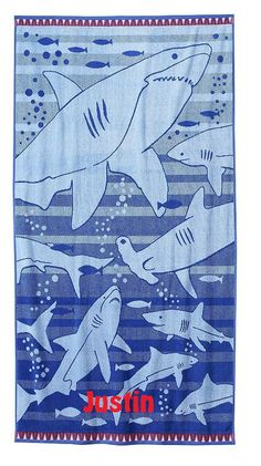 LARGE SHARK Fish Turkish Cotton Beach Towel - Personalized by CACBaskets on Etsy Shark Fish, Oversized Beach Towels, Unique Jewelry, Handmade Gifts, Kids, Cotton, Etsy, Vintage