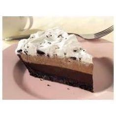 A cookie crust holds three chocolatey layers for a creamy no-bake pie.