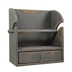 Country Rustic Primitive Paper Towel Holder/shelf W/drawer   Add character to your home with our Aged Wood Collection. Decorative items are created from distressed wood that looks time worn, with sanded edges and wear marks. They are finished in a special process combining paints and waxes for a textured appearance, they truly look like an original antique