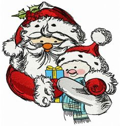 Santa and snowman 3 machine embroidery design. Machine embroidery design. www.embroideres.com #Christmas #plant #winter #scarf #snowman #nature #gift #bow #SantaClaus #present #Santahat #box #cold #holly #Berry #embroidery #embroideres