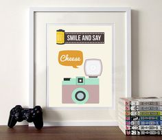 Camera illustration, camera typography, illustrated quote, camera poster, retro camera, vintage camera illustration,  Smile and say cheese