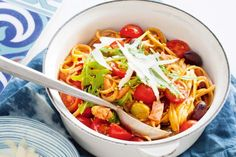 Tomato, bacon and olive linguine