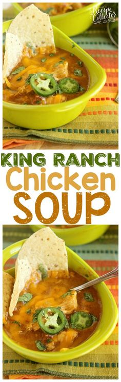 Slow Cooker King Ranch Chicken Soup - This delicious, creamy soup is filled with all those King Ranch Chicken Casserole flavors, and simmers away all day with the help of the crock pot! It's so easy and a huge hit!