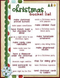 Christmas Bucket List...needs a few modifications :)