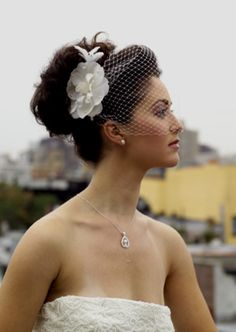 love this birdcage veil. not overpowering her face.