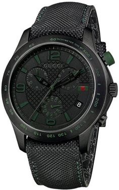 f37005a8018 Gucci Men s G-Timeless Chronograph Black IP Techno Leather Watch