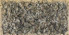 "One: Number 31, 1950  Jackson Pollock (American, 1912-1956)  1950. Oil and enamel paint on canvas, 8' 10"" x 17' 5 5/8"""