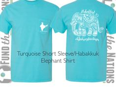 Turquoise Comfort Colors Elephant Shirt-Proceeds Help Children in Need and Posted Here so YOU Can Make a Difference! Repin This-Fall Fashion For Good! Share God's Love in India!