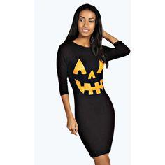 b63801db58c2 Boohoo Hayley Pumpkin Print Halloween Bodycon Dress (21 AUD) ❤ liked on  Polyvore featuring