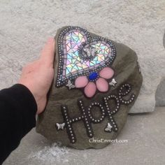 Large Hope Heart / Butterflies Mosaic / Garden Stone | Chris Emmert Mosaic & Design