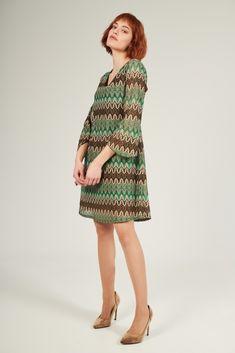 Νέες Αφίξεις : Φόρεμα εμπριμέ σε Α γραμμή-1147B High Neck Dress, Detail, Vintage, Dresses, Style, Fashion, Turtleneck Dress, Vestidos, Swag