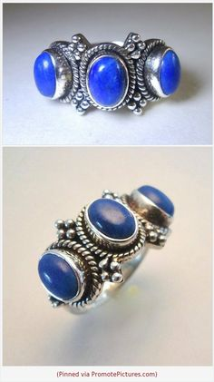 933961927 3 Stone Lapis Sterling Silver Ring, Blue Cabochons, Ornate Setting, Vintage  Size 6