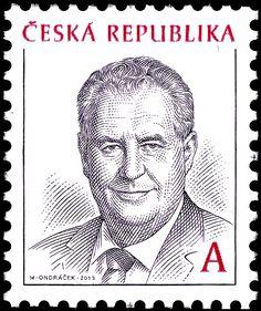 Briefmarke: Miloš Zeman (*1944), president (Tschechische Republik) (Definitive Issues - President Miloš Zeman) Mi:CZ 761,Sn:CZ 3566,Yt:CZ 673,Sg:CZ 723,AFA:CZ 768,POF:CZ 761 Paper Collage Art, Fiji, Czech Republic, Stamp, Album, World, Retro, Palm Plants, Seals
