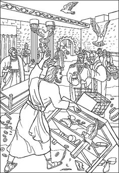Jesus Cleanses the Temple - Day 3 - Cut out different parts of the picture. Then have child color and glue them onto a piece of paper as we go through the story. Add more bible and less summary. Jesus Cleanses The Temple, Jesus In The Temple, School Coloring Pages, Bible Coloring Pages, Bible Story Crafts, Bible Stories, Childrens Sermons, Bible Illustrations, Bible Activities