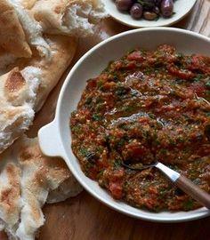 Moroccan spicy eggplant dip   Karen Martini [Roasted: eggplants, Roma tomatoes + harissa, coriander, cumin, fresh mint, ]