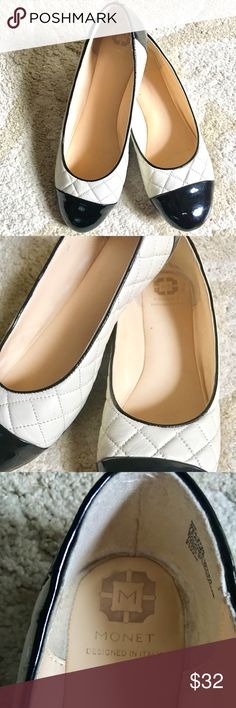 ✨Monet✨Quilted Cream & Black Leather Shoes Gorgeous & beautiful prep style shoes. Leather quilted black and cream Slip On shoes. Perfect look with jeans, dresses and crop pants. Monet Shoes Flats & Loafers