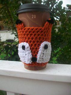 Kacky's Foxy Fox Coffee Cup Cozy pattern by Kathleen Hoban Crochet Coffee Cozy, Coffee Cup Cozy, Crochet Cozy, Crochet Gifts, Crochet Yarn, Fox Crafts, Handmade Felt, Crochet Accessories, Crochet Projects