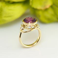 Recykling of old gems into new jewellery is something we often do. When someone entrusts us with their heirloom, redesigning these materials is always a matter of trust - and I feel honored by it! In this case a large amethyst handed down from a beloved relative got a second life in this gorgeous and one of a kind cocktail ring, adorned with diamonds. Please contact us at design@castens.com in order to have old memories turned into a new love.