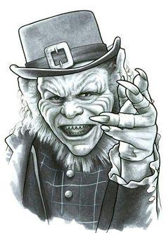 Prison Drawings, Creepy Drawings, Horror Movie Tattoos, Horror Movie Characters, Arte Horror, Horror Art, Leprechaun Movie, Leprechaun Tattoos, Horror Drawing