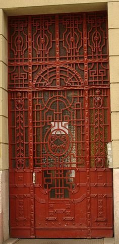 Hungary, when we were walking all over Budapest, city of my grandma's parents, we kept stopping to admire the doors.
