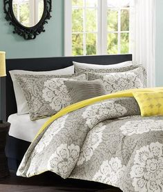 #Bella Medallion Grey #Comforter Set White large-scale damask medallion pattern with a two-tone grey damask #background for amazing display of pattern. Finished with contrast yellow reverse. Coordinating shams and embellished decorative pillows are already included to
