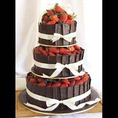 chocolate, strawberry bow wedding cake