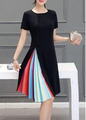 Short Sleeve Zipper Closure Black Dress on sale only US$22.42 now, buy cheap…