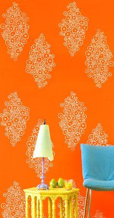 Nama Rococo wallpaper in Serious Bokay in Orange