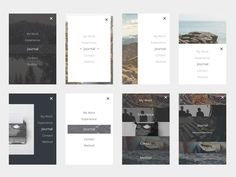 These are 8 #mobile menu screens with a minimal #ui design.