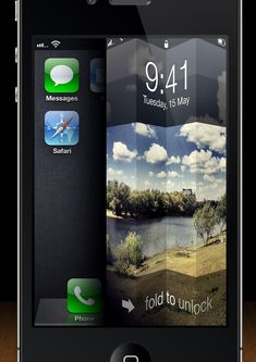 iOS Lock Screen 'Fold to Unlock' Concept