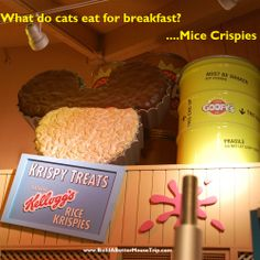 Silly joke: Q: What do cats eat for breakfast? / A: Mice Crispies! ....Photo: Display at Goofy's Candy Company in Downtown Disney at Disney World.---To receive a list of 45 great #Disney World freebies see: http://www.buildabettermousetrip.com/disney-freebies/ #DisneyJoke  #Disneyworld #WDW