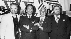 Gianni Versace, Valentino Garavani, Giorgrio Armani and Gianfranco Ferre, 1992.